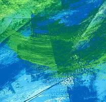 Abstrakter gemalter Fond in Blau und Grün