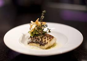 Ansprechend angerichtetes Fischgericht in Gourmetrestaurant
