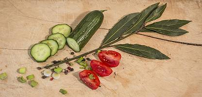 Rustikales Brett mit Gurke, Tomatenstücke, buntem Pfeffer, Frü