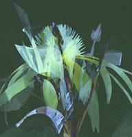 Abstrakte Grafik eines Blume Gewächses in grün und blau