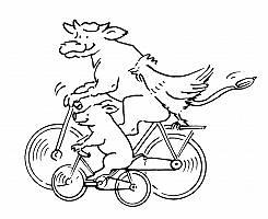 Zeichnung einer Kuh, eines Schweins und eines Hahns, die gemeins