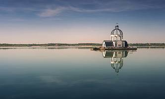 Fotografie der Vineta auf dem Störmthaler See einer versunkenen