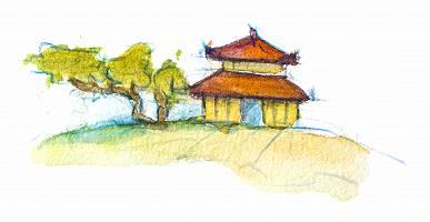 Landschaft mit asiatischem Gebäude
