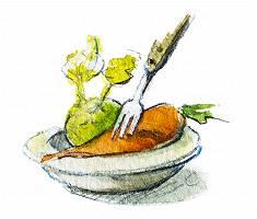 Aquarellbild von einem Gemüseteller