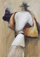 Zeichnung einer Frau auf Braunpapier