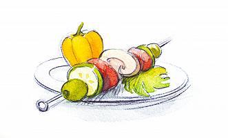 Gemüsespießes zum Grillen