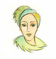 Frau mit grünen Haaren