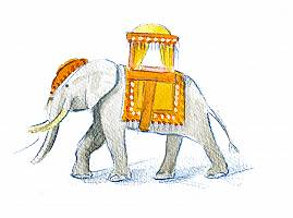 Ein Elefant mit Sattel