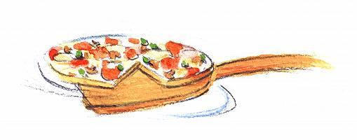 Pizza auf Pizzaschieber