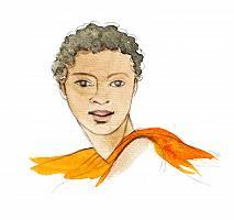 Aquarellbild einer afrikanischen Frau