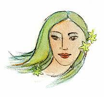 Frau mit grünen Haaren und Sternchen in den Haaren