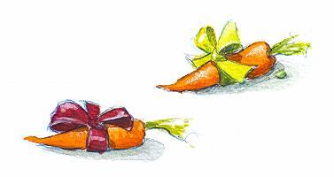 Karotten mit Schleifchen