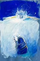 Schneekönigin in Blau