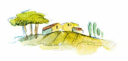 Mediterrane Landschaft mit Häusern