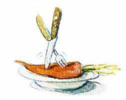 Aquarellbild einer Karotte auf einem Teller