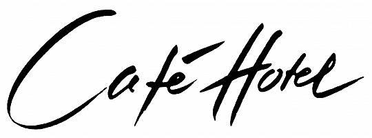 Café Hotel mit Pinsel handgeschriebener Schriftzug