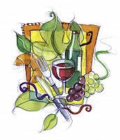 Gezeichnete collage mit Weinglas, Weintrauben, Weinflasche, Best