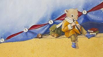 Illustration einer Maus, die Flöte spielt