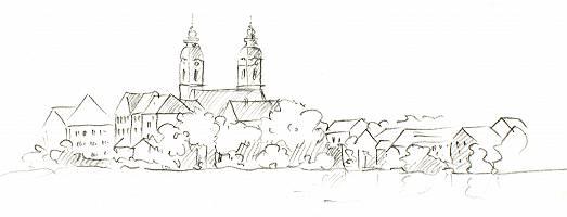 Bleistiftzeichnung der Stadtansicht von Bad Waldsee
