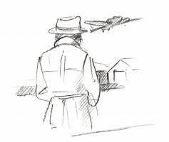 Zeichnung einer Person von hinten