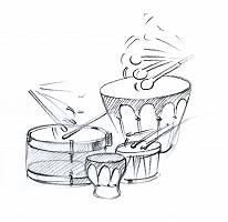 Bleistiftzeichnung von verschiedenen Trommeln
