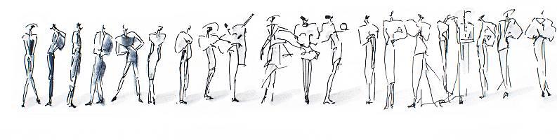 Zeichnung von vielen Menschen