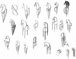 Bleistiftzeichnung von vereinfachten Pferdeköpfen