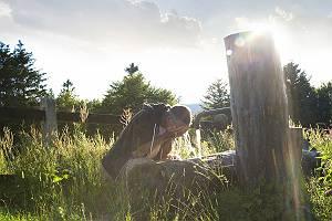 Ein Mann, der sich in der Natur an einem Brunnen aus Holz mit Wa