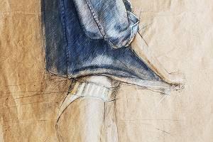 Zeichnung einer Frau, die an ihrer Jacke herumzerrt