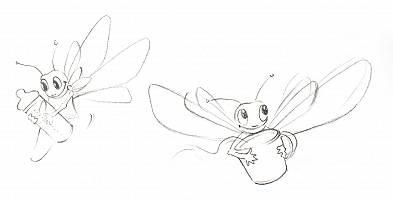 Bleistiftzeichnung zweier Libellen