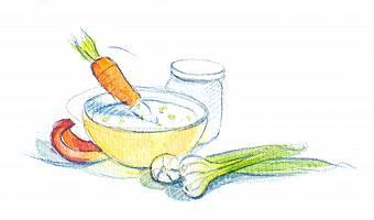 Aquarellbild von Gemüse mit Dip