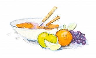 Aquarellbild einer Schüssel mit Obst und Joghurt