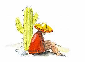 Aquarellzeichnung eines Mannes mit Sombrero neben einem Kaktus