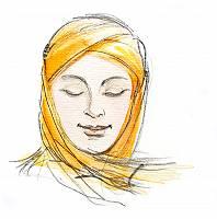 Aquarellzeichnung einer Frau mit Kopftuch