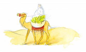 Aquarellbild einer Person, die auf einem Kamel reitet