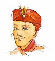 Aquarellbild eines Mannes mit Kopfbedeckung