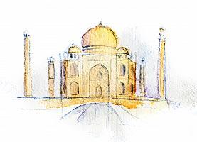 Aquarellzeichnung des Taj Mahals