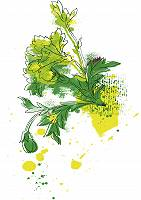 Abstrakt gemalter Fond Blumen und Blätter