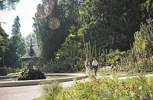 Paar geht im Gartenkulturpfad Überlingen spazieren