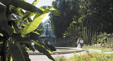 Paar geht im Gartenkulturpfades Überlingen spazieren