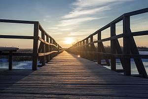 Holzsteg führt zum Sonnenuntergang