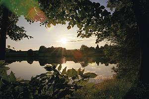 Idyllischer Sonnenuntergang am See