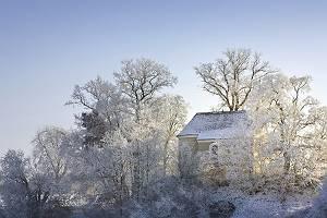 Kappelle im Winter zwischen vereisten Bäumen