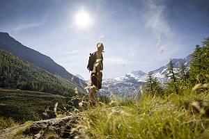 Wanderer vor Alpenpanorama