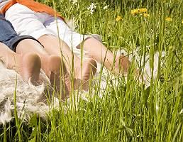 Paar liegt auf einem Fell in der Blumenwiese