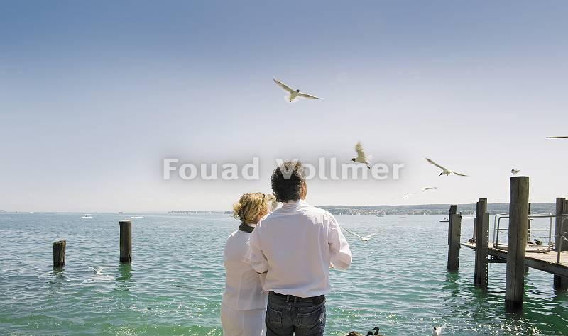 Rückenansicht eines Paares am Bodensee Möven fütternd
